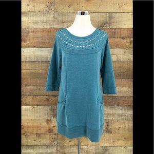 Soft SURROUNDINGS Women's Teal Tunic Sweater Small
